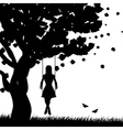 Girl on swing silhouette vector