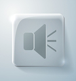 Glass square icon loudspeaker vector
