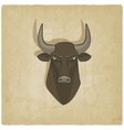 Bull head old background vector