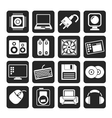 Silhouette computer items and accessories icons vector