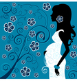 Pregnant beauty in flowers vector