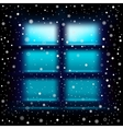 Snow night large window vector