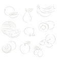 Fruits sketchy icons vector