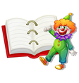 A clown and the big notebook vector