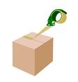 An adhesive tape dispenser closing a cardboard box vector
