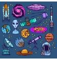 Space sketch set colored vector