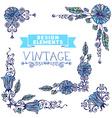 Set of vintage corner designs with floral elements vector
