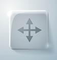 Glass square icon with highlights the move arrows vector