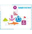 Postcard with pirates set vector