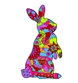 Rabbit in easter colors vector
