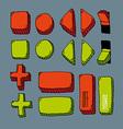 Cartoon hand drawn internet button set color vector