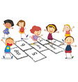 Children and hopscotch vector
