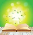 Open book on wood over light background vector