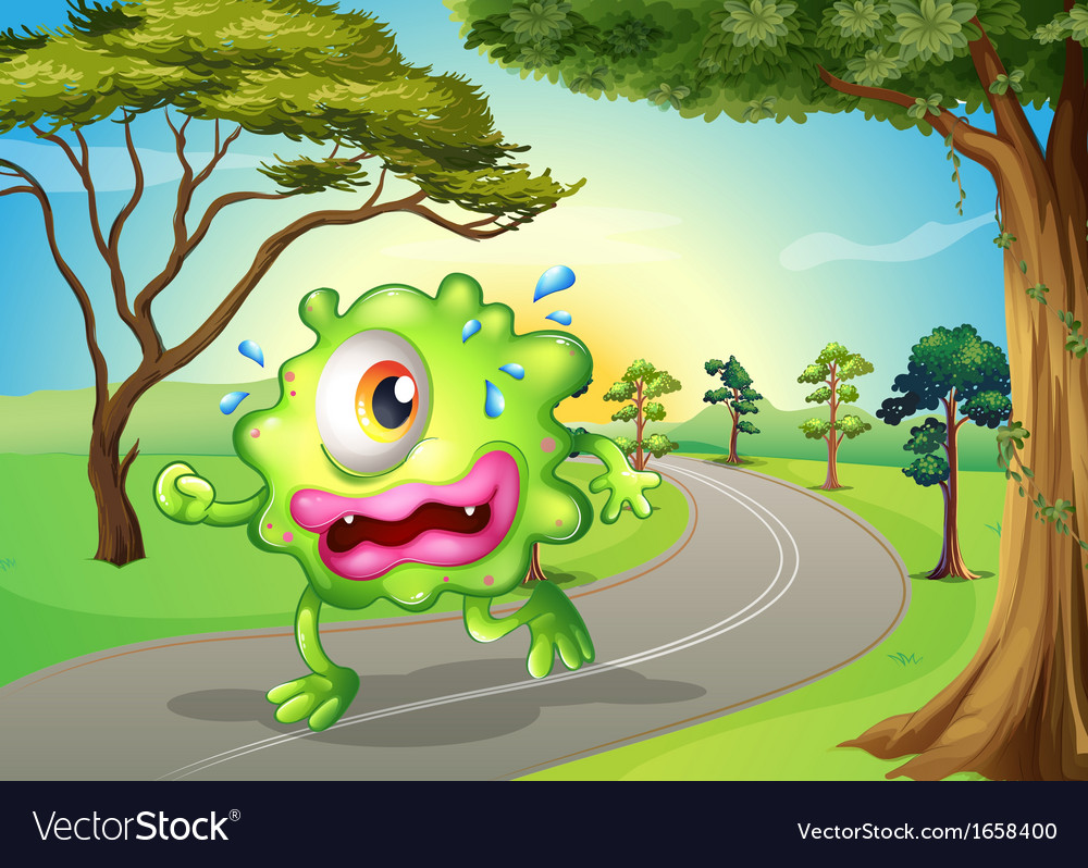 A monster jogging at the road vector | Price: 3 Credit (USD $3)