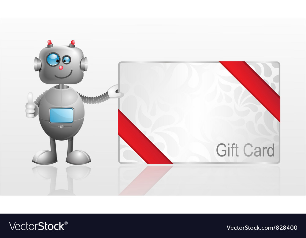 Cartoon robot with gift card vector | Price: 1 Credit (USD $1)
