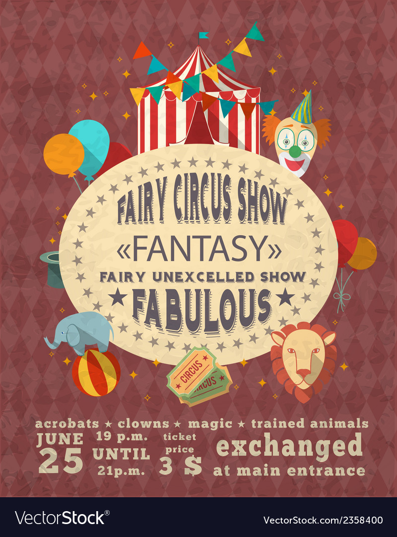 Circus vintage advertisement poster vector | Price: 1 Credit (USD $1)
