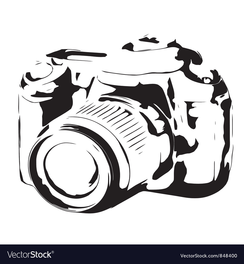 Digital camera silhouette black and white vector | Price: 1 Credit (USD $1)