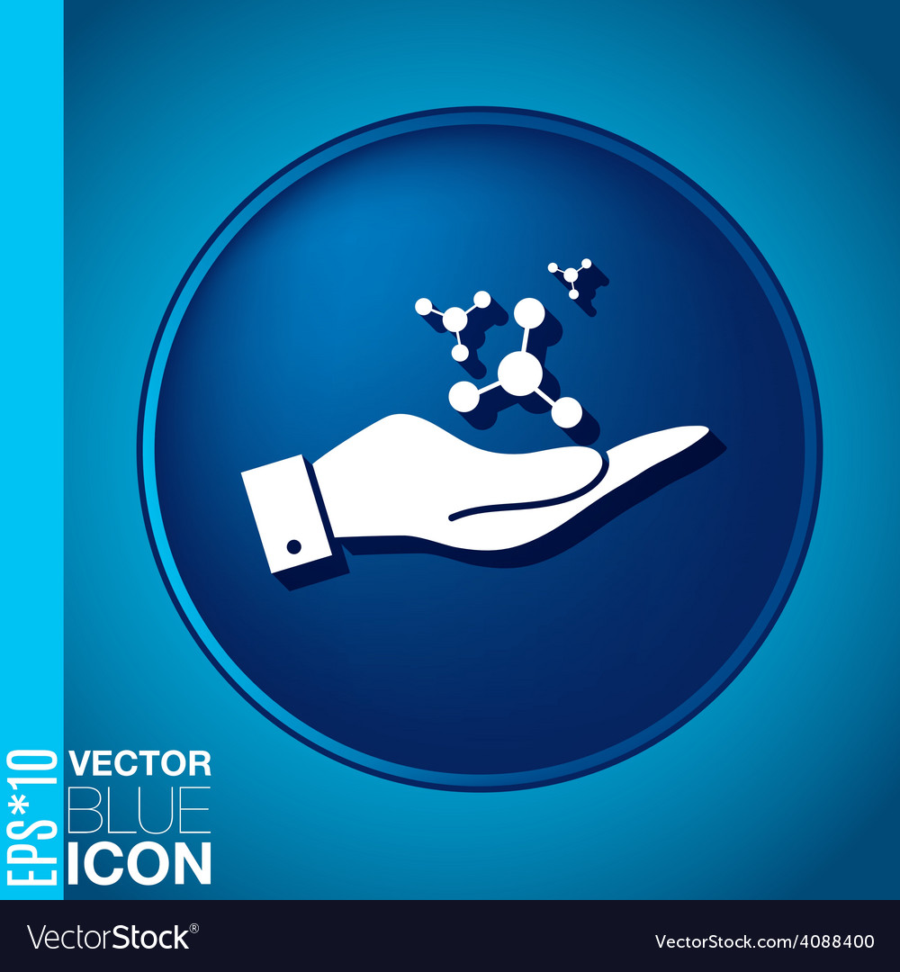 Hand holding the atom molecule symbol icon of vector | Price: 1 Credit (USD $1)