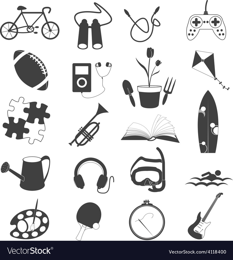 Hobby icons isolated on white background vector | Price: 1 Credit (USD $1)
