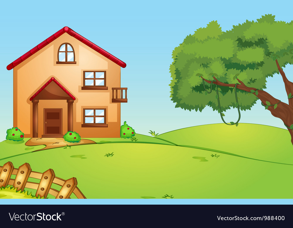 House in nature vector | Price: 1 Credit (USD $1)