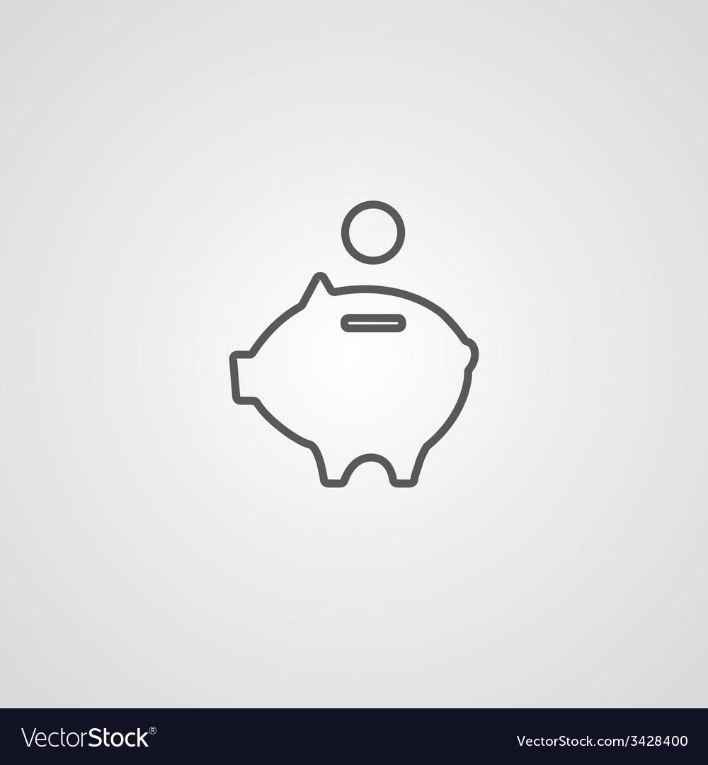 Moneybox piggy outline symbol dark on white vector | Price: 1 Credit (USD $1)