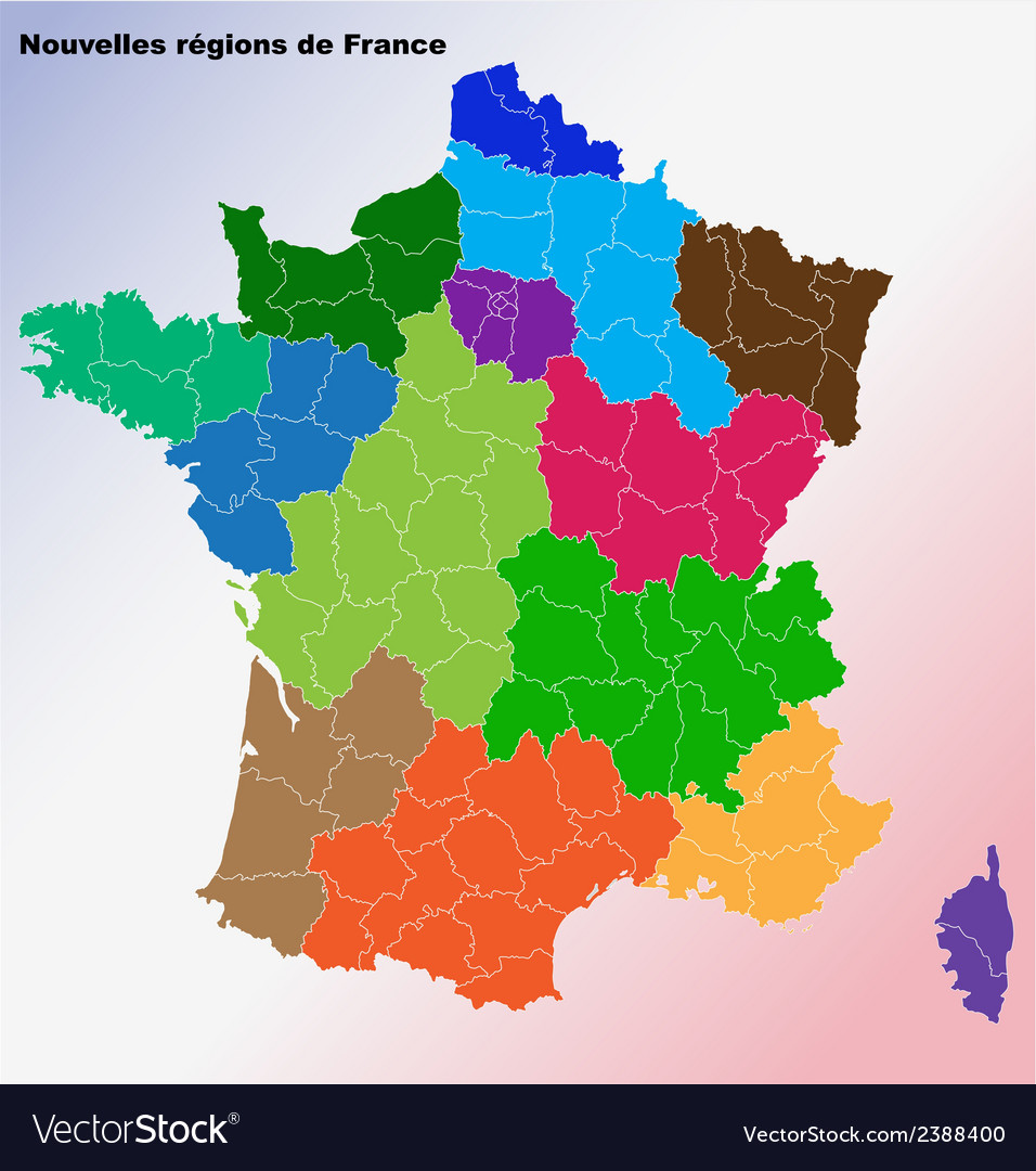 New french regions nouvelles regions de france vector | Price: 1 Credit (USD $1)