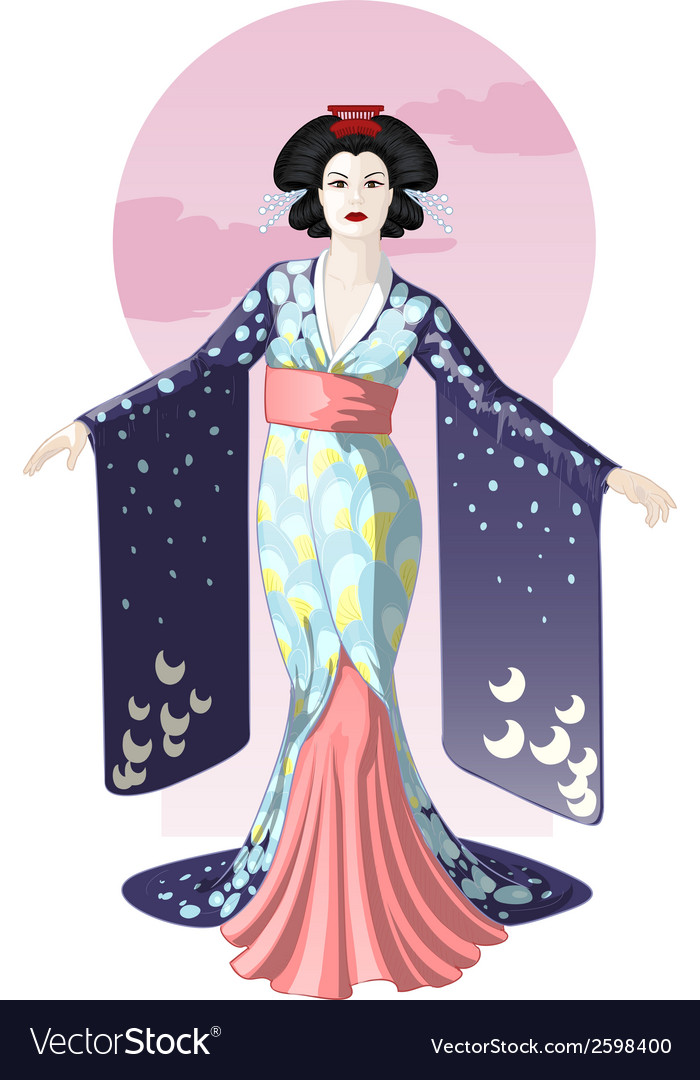 Retro character attractive japanese actress geisha vector | Price: 3 Credit (USD $3)