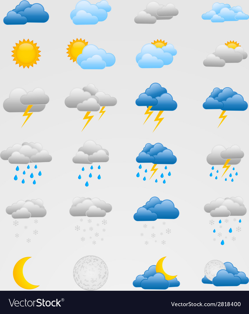 Set of colorful weather icons vector | Price: 1 Credit (USD $1)