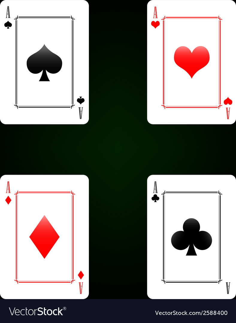 Set of playing cards - four aces vector | Price: 1 Credit (USD $1)