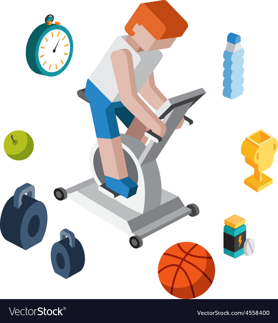 Sport exercise workout flat 3d isometric modern vector | Price: 1 Credit (USD $1)