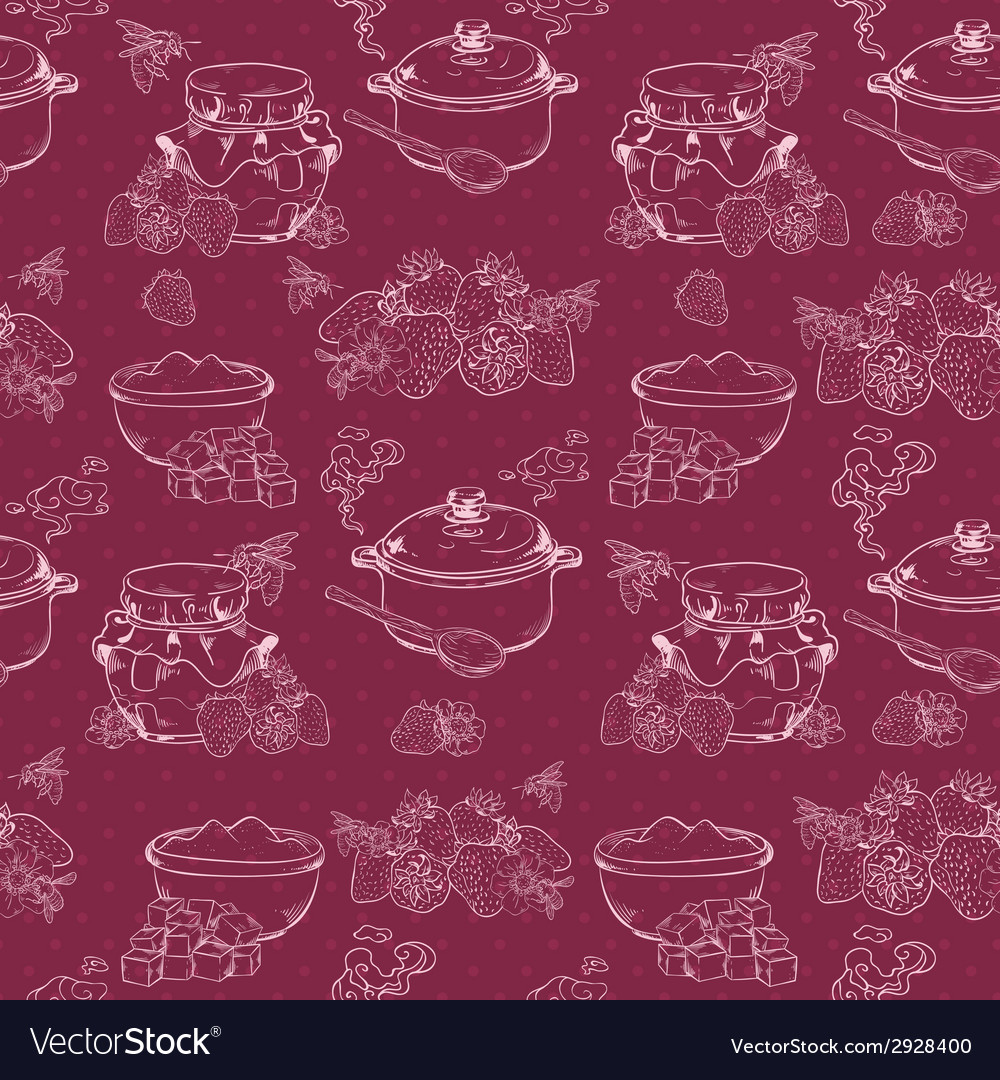 Strawberry jam seamless pattern vector | Price: 1 Credit (USD $1)