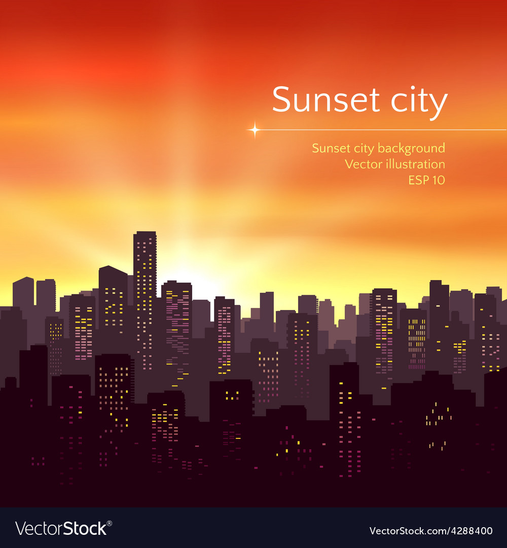 Sunset city landscape vector | Price: 1 Credit (USD $1)