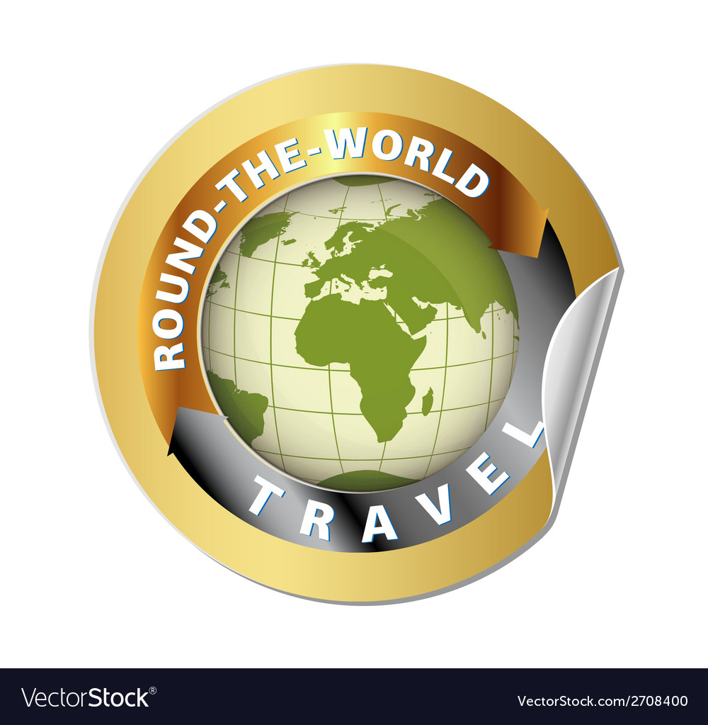 World travel round globe label vector | Price: 1 Credit (USD $1)