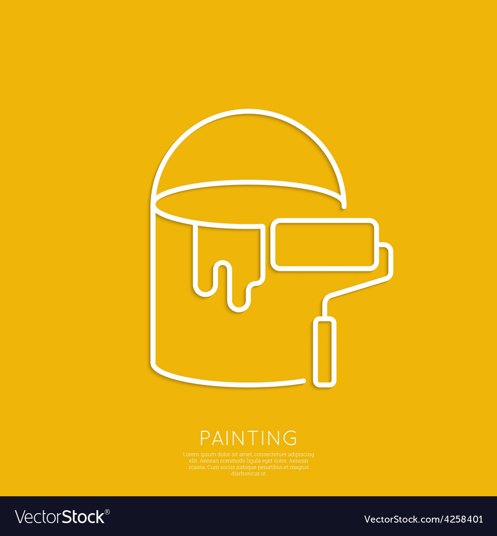 Bucket of paint and roller vector | Price: 1 Credit (USD $1)