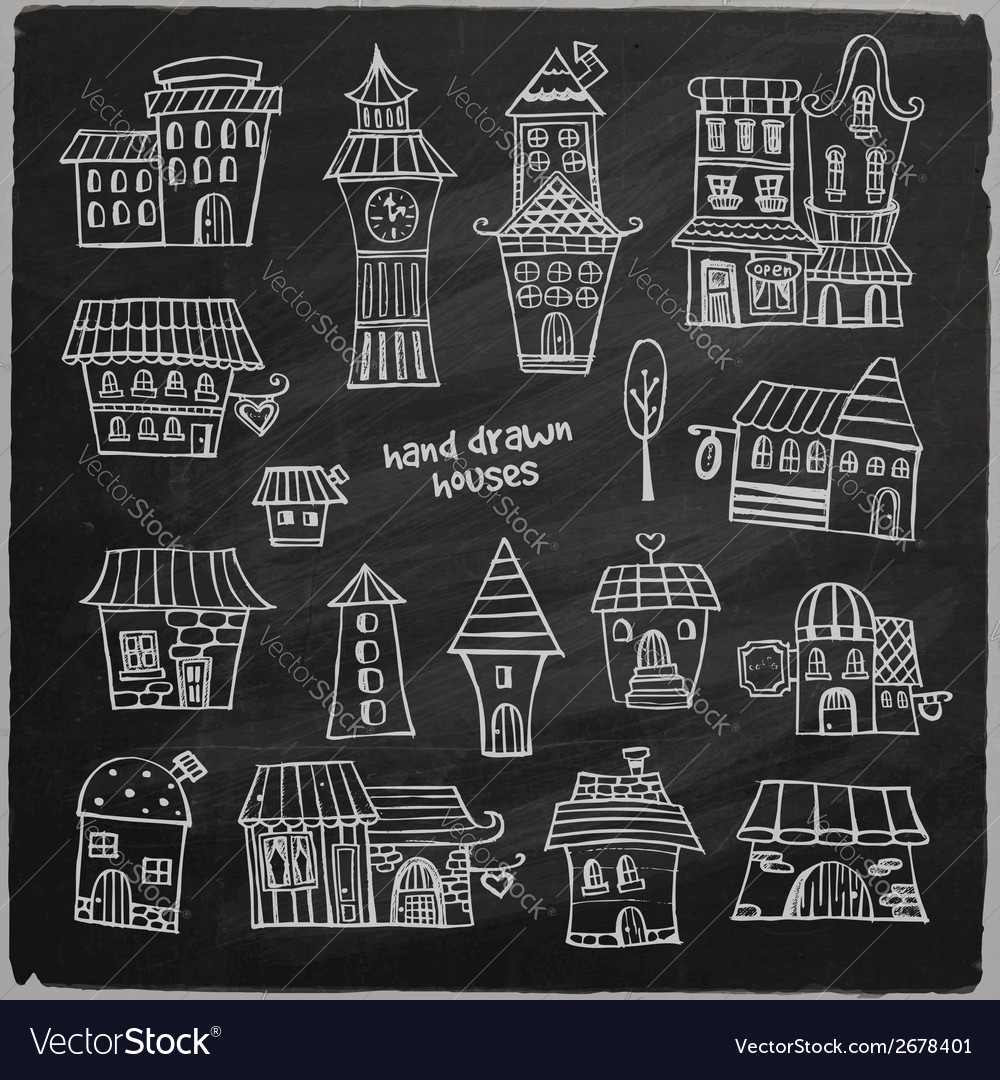Chalkboard fairy tale houses vector | Price: 1 Credit (USD $1)