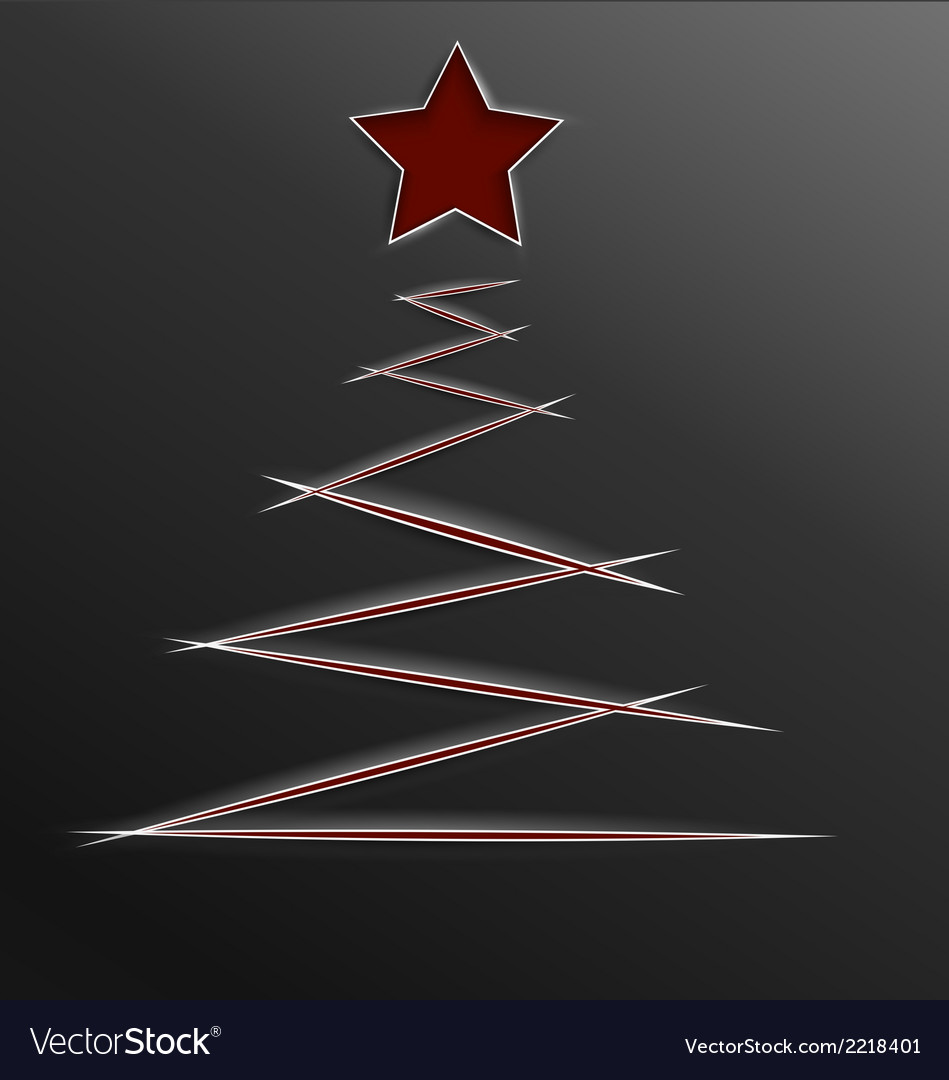 Christmas tree paper cut lines vector | Price: 1 Credit (USD $1)