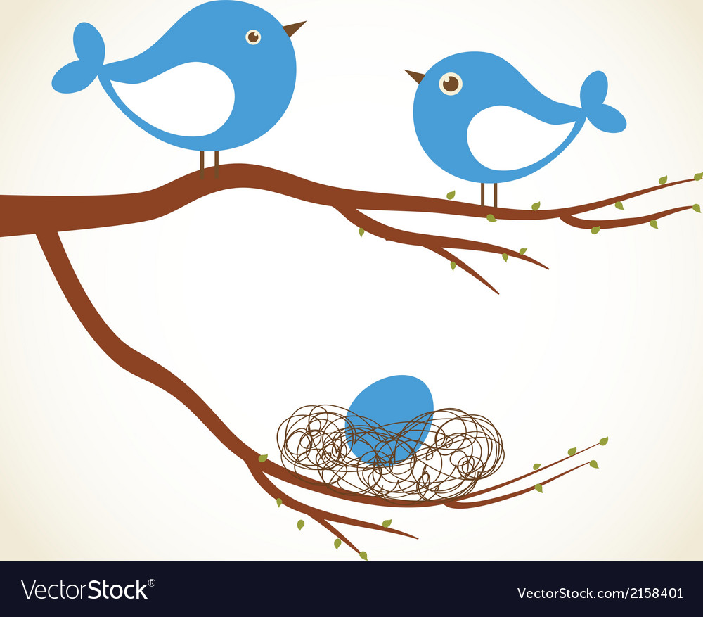 Cute beauty birds on the tree branch vector | Price: 1 Credit (USD $1)