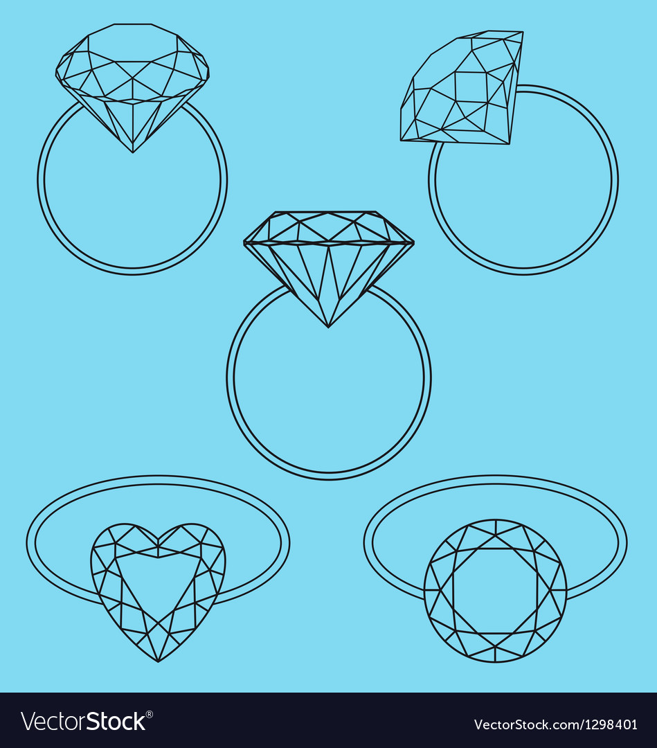 Diamond rings set vector | Price: 1 Credit (USD $1)