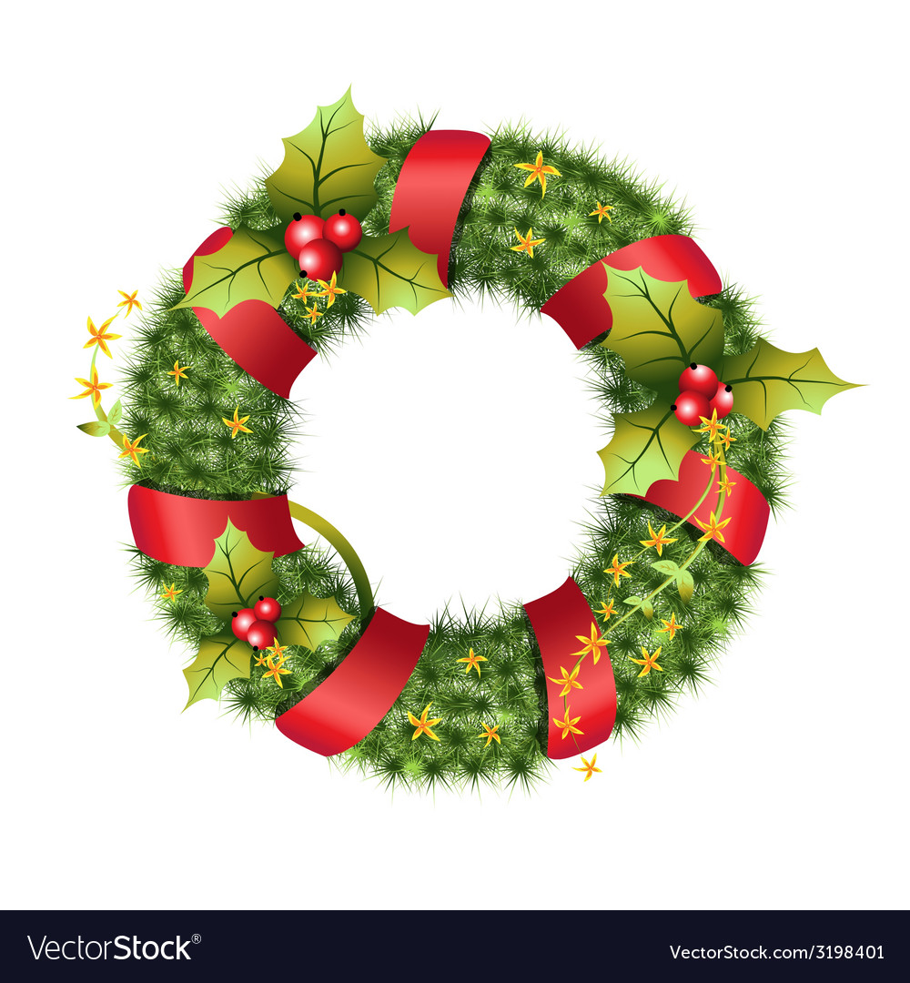 Green christmas wreath vector | Price: 1 Credit (USD $1)