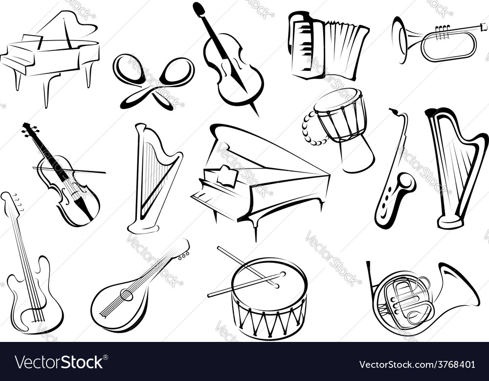 Musical instruments icons in sketch style vector | Price: 1 Credit (USD $1)