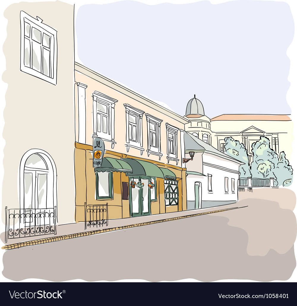 Street in the old town vector | Price: 3 Credit (USD $3)