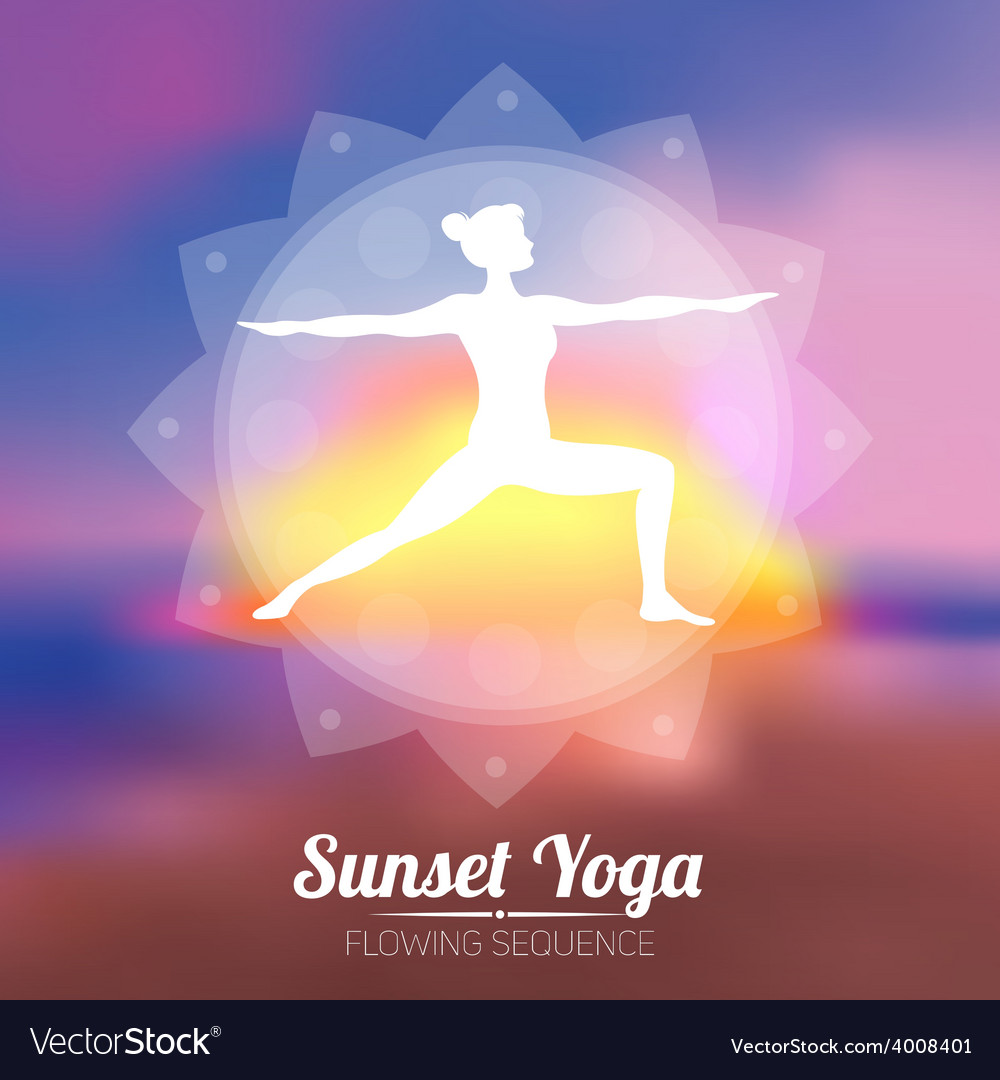 Sunset yoga poster vector | Price: 1 Credit (USD $1)