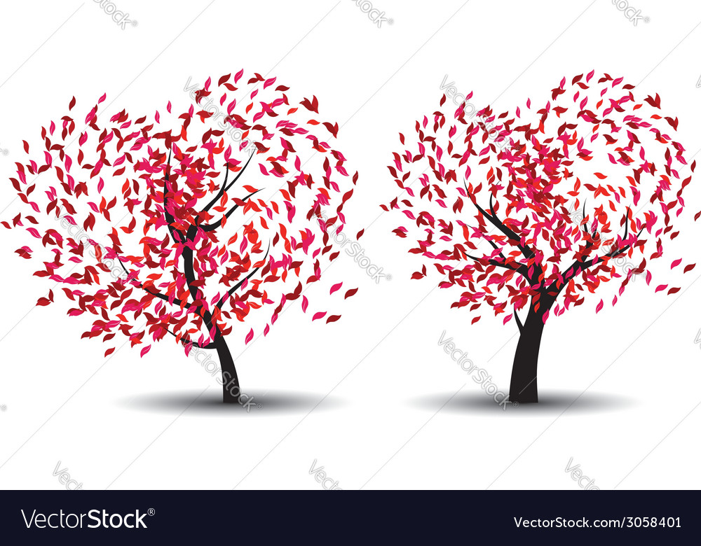Tree with abstract red leaves vector | Price: 1 Credit (USD $1)