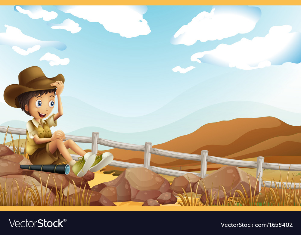A young explorer sitting above the rock near the vector | Price: 3 Credit (USD $3)