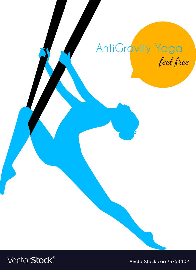 Anti-gravity yoga poses woman silhouette vector | Price: 1 Credit (USD $1)