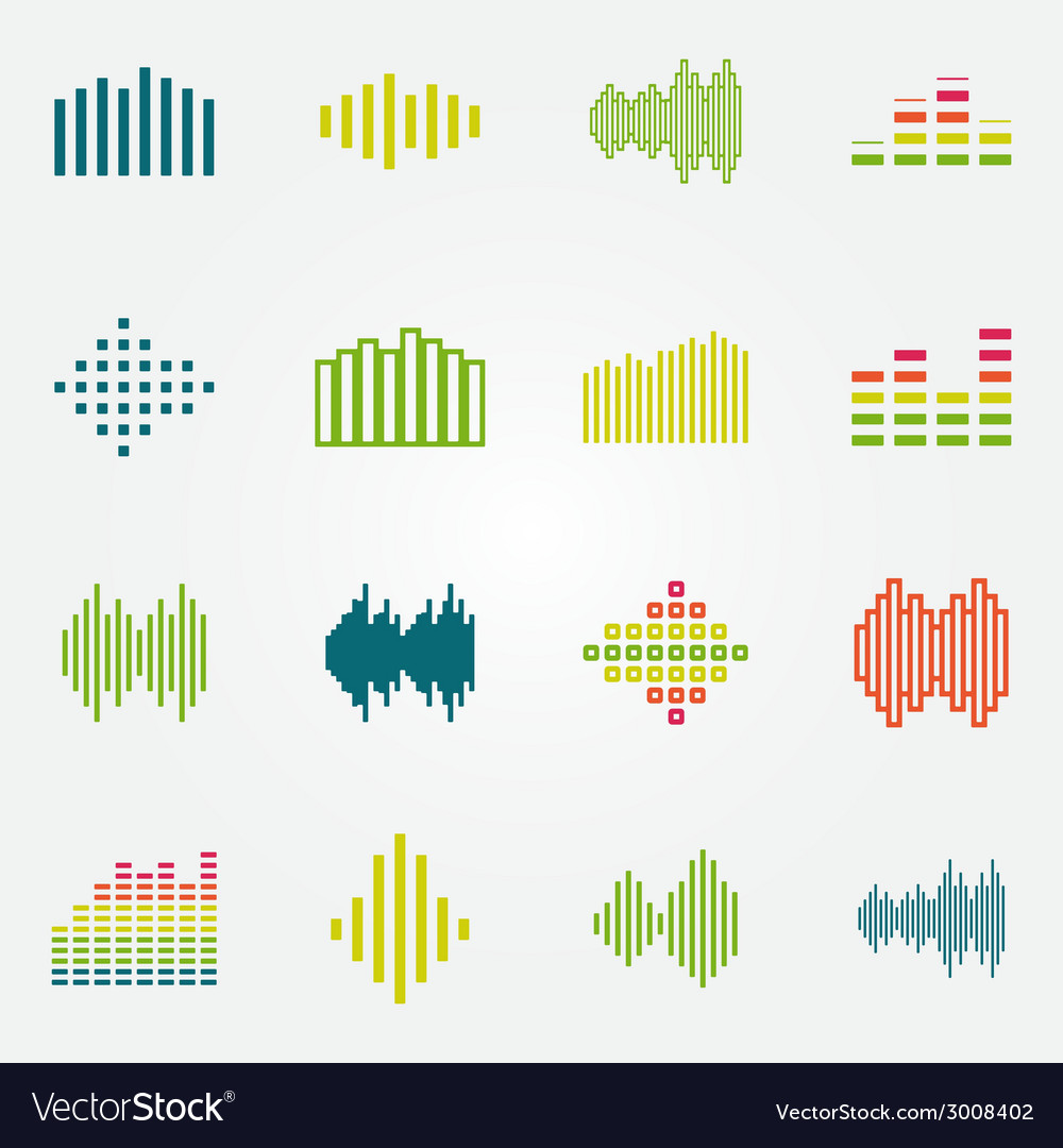 Bright music soundwave or equalizer icons set vector | Price: 1 Credit (USD $1)