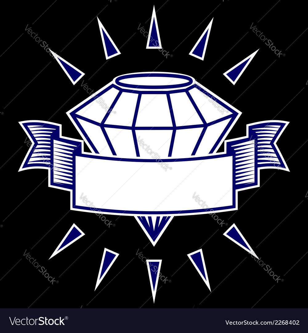 Diamond with a banner symbol vector | Price: 1 Credit (USD $1)