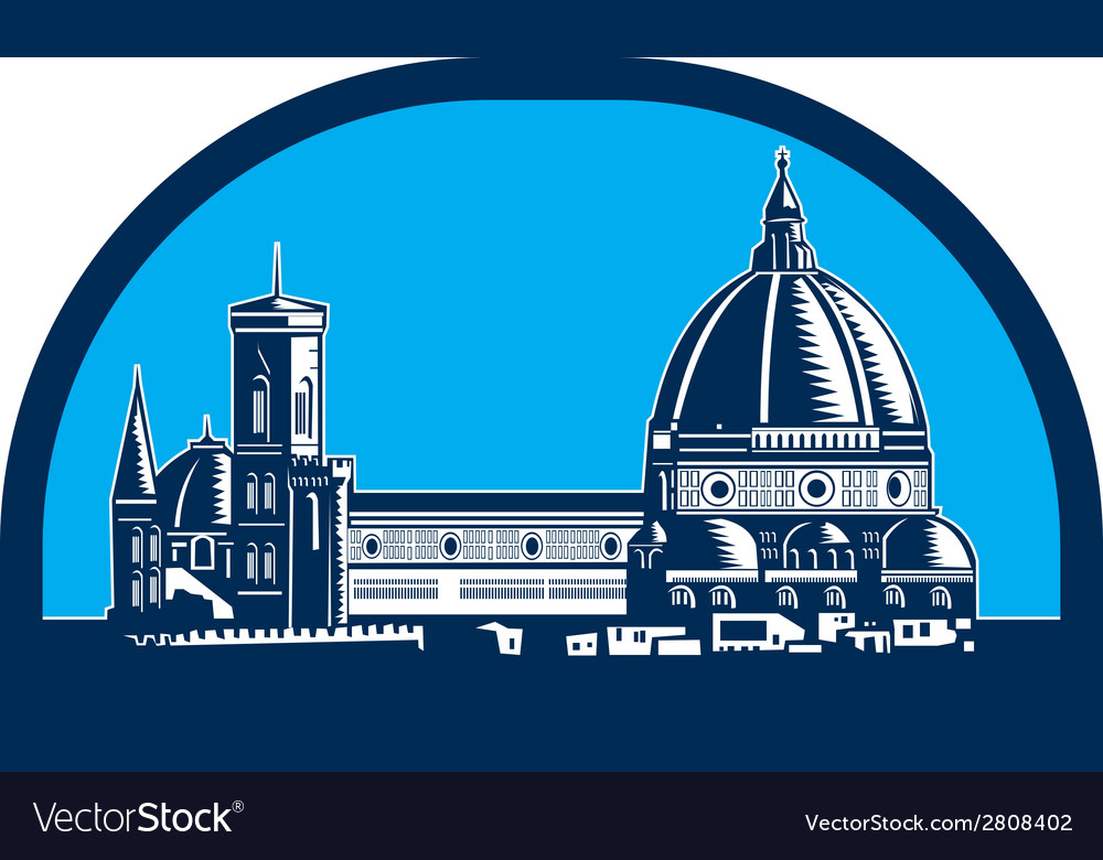 Dome of florence cathedral retro woodcut vector | Price: 1 Credit (USD $1)