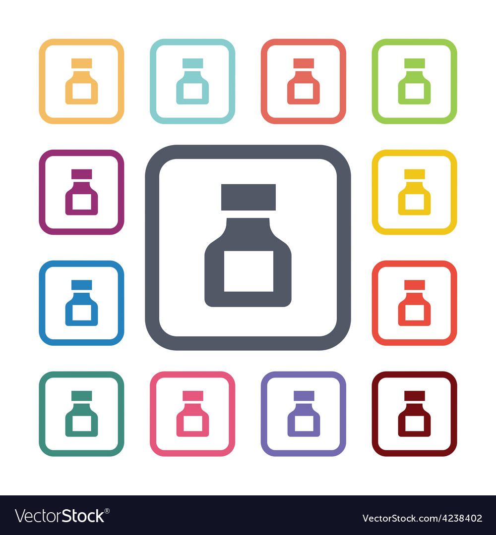 Drugs flat icons set vector | Price: 1 Credit (USD $1)