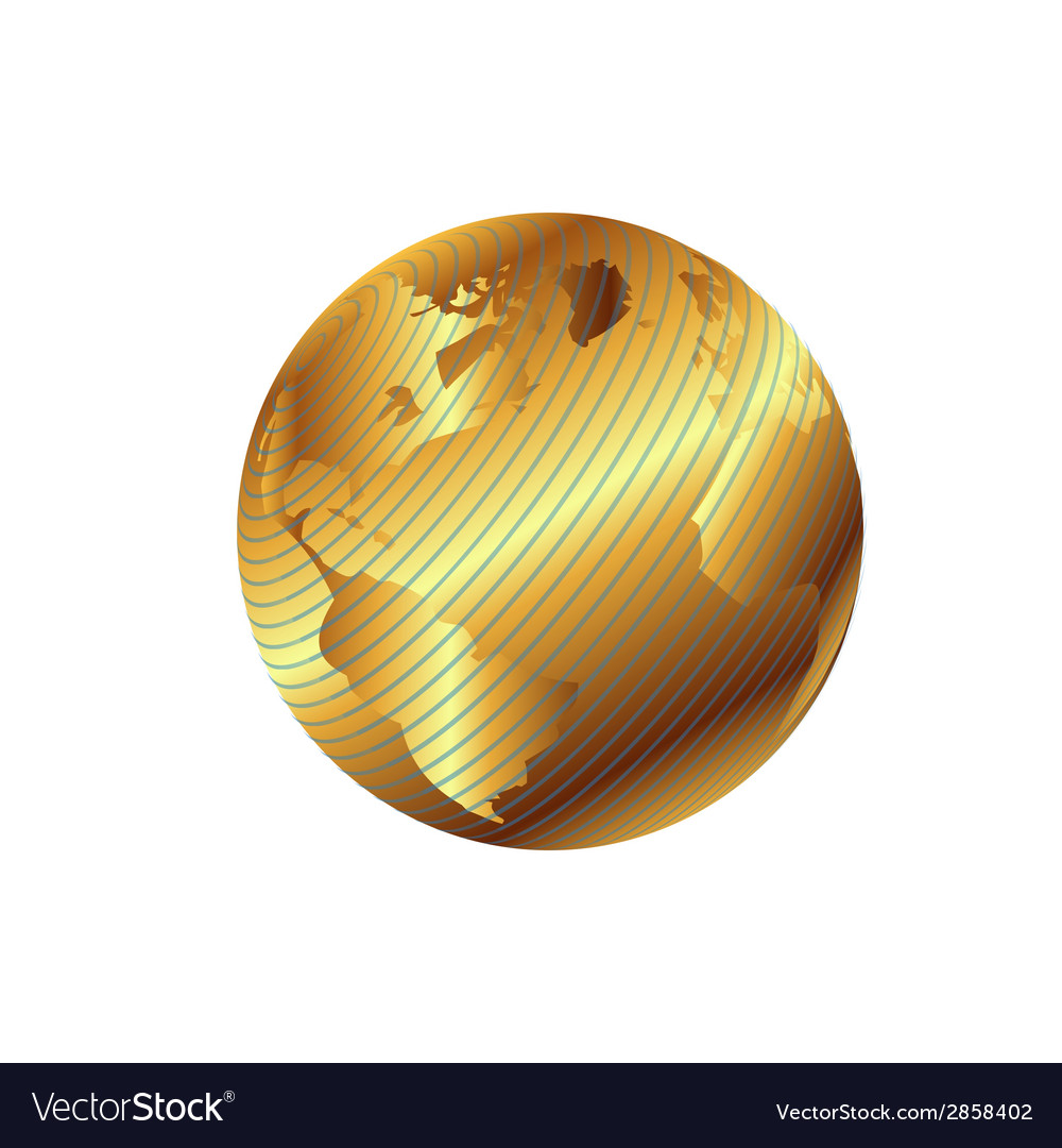 Golden globe planet with geographical vector | Price: 1 Credit (USD $1)
